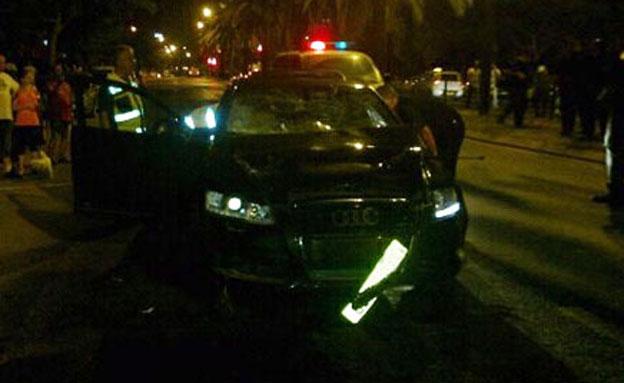 הרכב הדורס בזירת התאונה, נתניה (צילום: חדשות 2)