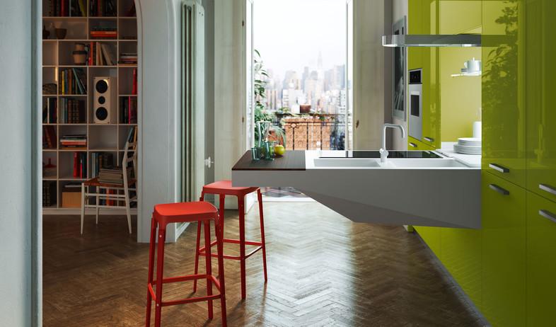 מטבחים קטנים, ירוק (צילום: snaidero.com)