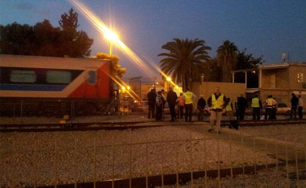 עובד בתחנה נהרג מפגיעת רכבת בלוד (צילום: עזרי עמרם, חדשות 2)