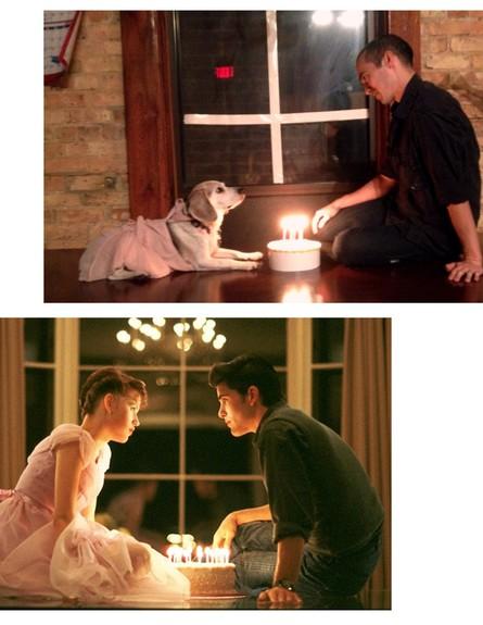 רווק וכלב משחזרים סצנות רומנטיות (צילום: http://imgur.com/a/8PKUl)