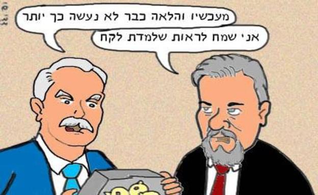 יאיר שמיר - קריקטורה (צילום: דדי שי)