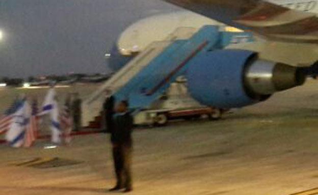 """מטוסו של סגן נשיא ארה""""ב בנתב""""ג, הבוקר (צילום: דוברות רשות שדות התעופה)"""