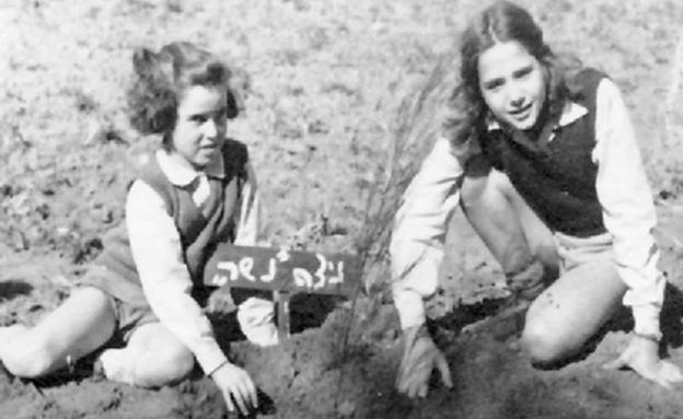 נטיעות בגן שמואל, שנות ה-40 (צילום: ארכיון קיבוץ גן שמואל, מתוך פיקיוויקי)