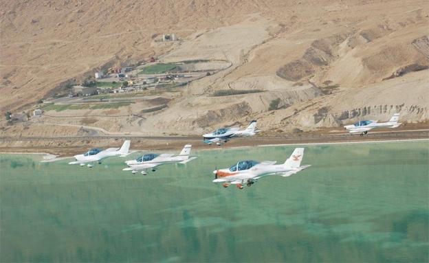 צפו: שיא גינס אווירי מעל ים המלח (צילום: האגודה הישראלית לתעופה ספורטיבית קלה)