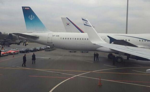 המטוסים של אירן וישראל בז'נבה (צילום: חדשות 2)