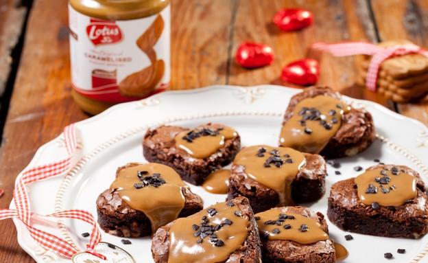 בראוניס שוקולד שברי לוטוס בציפוי קרם לוטוס (צילום: בועז לביא, לוטוס)