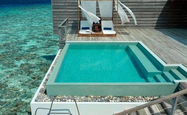 מלון במאלדיבים, בריכה לים גובה (צילום: facebook.com/DusitThaniMaldives)
