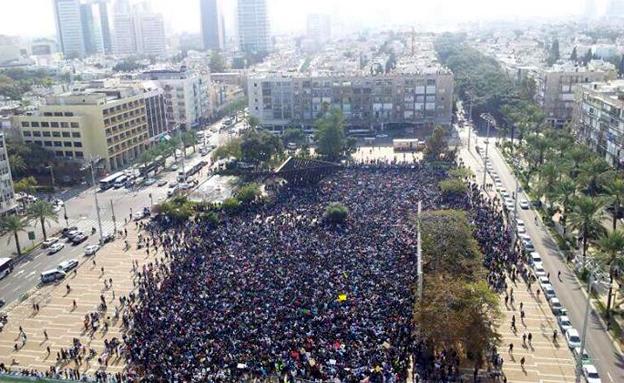המחאה בתל אביב בחודש שעבר (צילום: יפעת מור)
