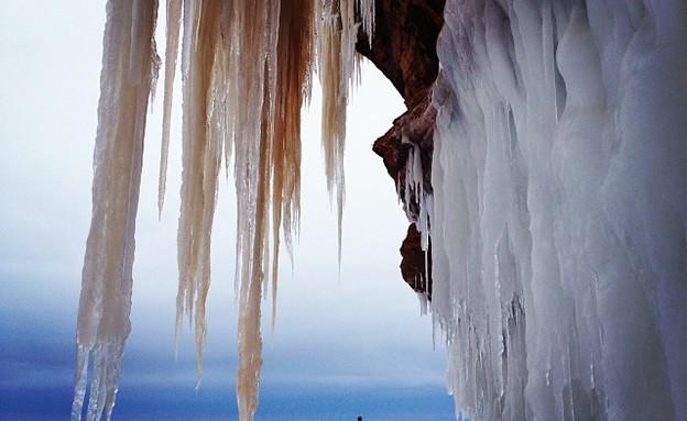 קיר נטיפים, מערת הקרח בויסקונסין (צילום: Instagram user: jenhauck)