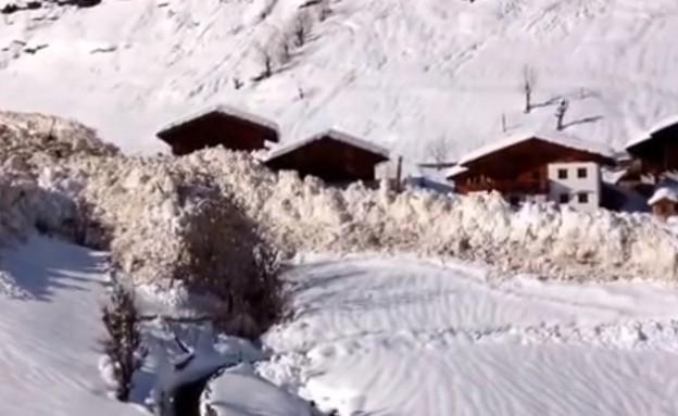 מפולת קוברת כפר (צילום: יוטיוב)