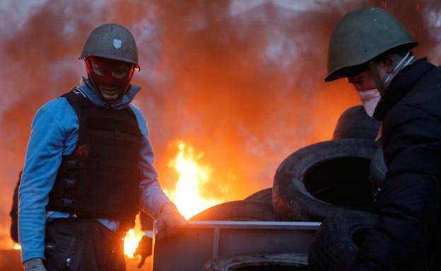 מהומות באוקראינה (צילום: AP)