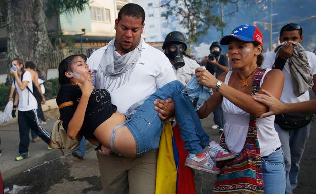 """מחאה נגד השלטון גם בוונצואלה: """"לא לדיקטטורה"""" (צילום: רויטרס)"""