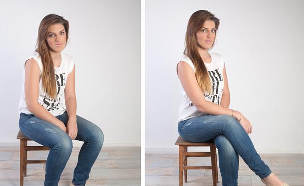 להצטלם נכון - ישיבה זקופה ומכופפת (צילום: סטודיו מוריאל. איפור: אולגה אלמליח)
