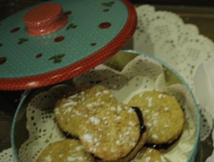 עוגיות סנדוויץ' עם מחית אוכמניות וצ'ילי  של סרנדה  (צילום: דניאל בר און)