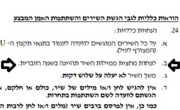 תקנון רשות השידור - עברית (צילום: צילום מסך מאתר רשות השידור)