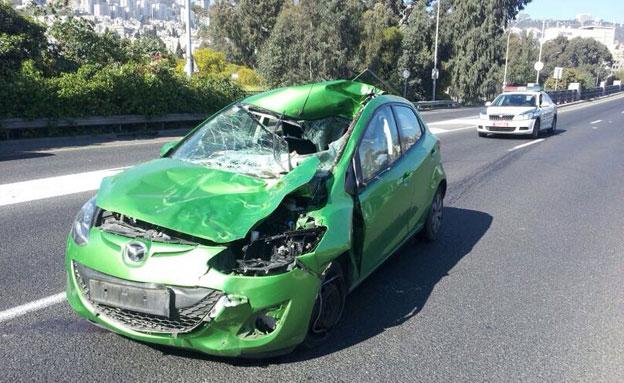 זירת התאונה בחיפה (צילום: איחוד הצלה כרמל)