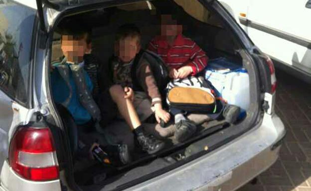 הילדים ניצלו מההסעה המסוכנת (צילום: דוברות אגף התנועה במשטרה)