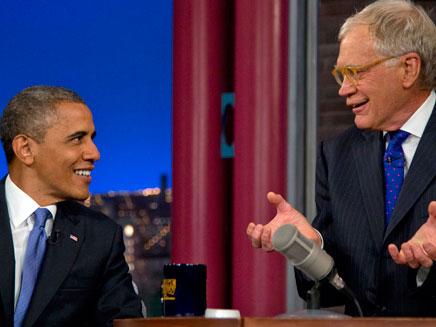 לטרמן מארח את הנשיא אובמה ב-2012 (צילום: AP)