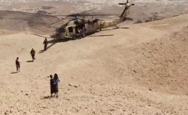 חילוץ מטיילים בנגב (צילום: חדשות 2)