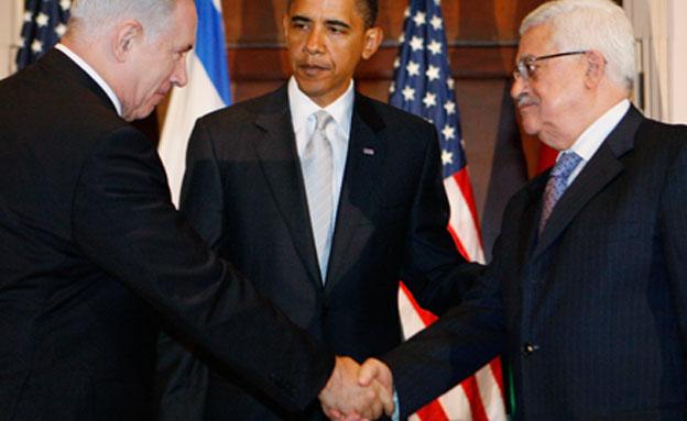 ברק אובמה, מוחמד עבאס אבו מאזן, בנימין נתניהו (צילום: AP)