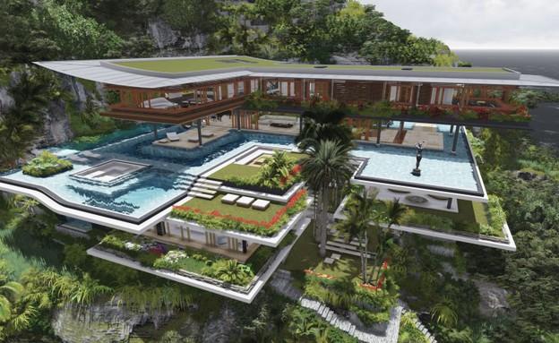 בית חלומות, חוץ בריכות (צילום: הדמיה Martín Ferrero Arquitectura)