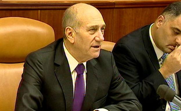אולמרט אהוד ראש ממשלת ישראל בישיבת ממשלה (צילום: חדשות 2)