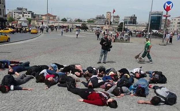 מחאה באיסטנבול נגד משרד האנרגיה (צילום: זאמן)