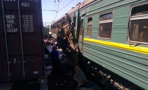 תאונת הרכבות סמוך למוסקבה (צילום: משרד החירום ברוסיה)