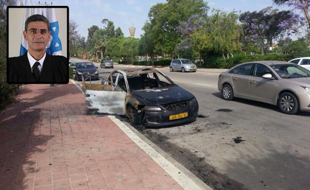 מכוניתו של השופט אבו טהא (צילום: ניסים ניר, אתר בתי המשפט)