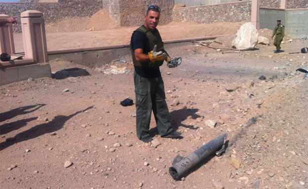 נפילת הרקטה באילת (צילום: משטרת ישראל)