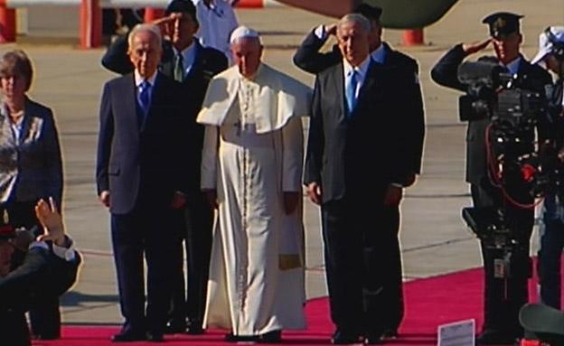 שמעון פרס, בנימין נתניהו, האפיפיור פרנציסקוס (צילום: חדשות 2)