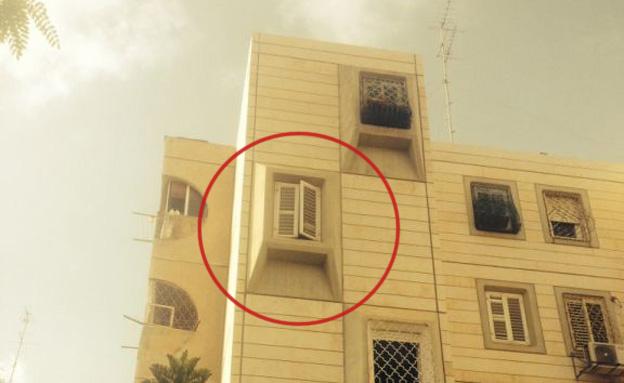 החלון ממנו נפלו הילדים (צילום: חדשות 2)