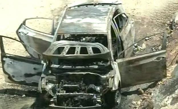 הרכב השרוף (צילום: הטלוויזיה הפלסטינית)