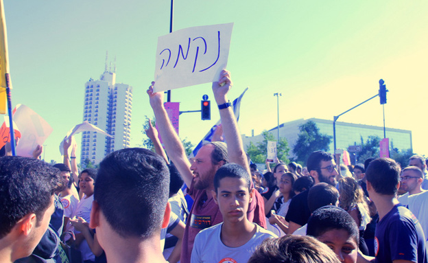 """המפגינים דורשים נקמה (צילום: אהרן והב, סוכנות הידיעות """"חדשות 24"""")"""