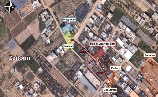"""מיקום משגרי טילים בלב שטח אזרחי (צילום: דובר צה""""ל)"""