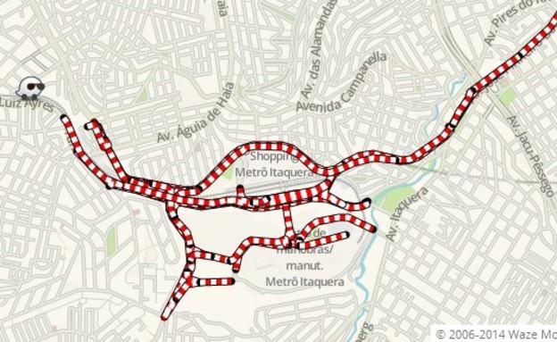מפת הפקקים של ווייז בברזיל (צילום: Waze)