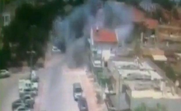 צפו בתיעוד הפגיעה (צילום: מצלמת אבטחה, ישראל ארזי)