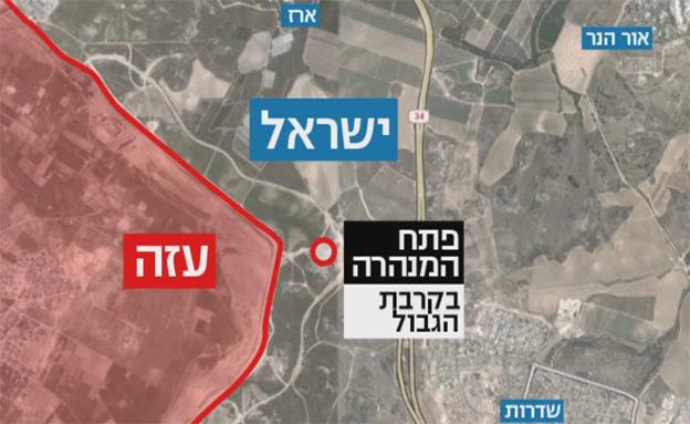 """האזור בו חדרו המחבלים לישראל, אתמול (צילום: דובר צה""""ל)"""