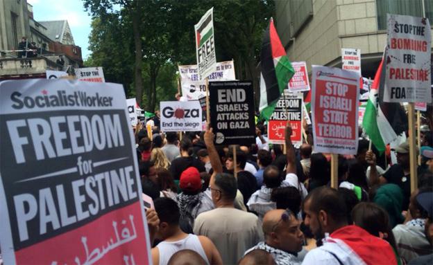 """הפגנה פרו-פלסטינית בחו""""ל (צילום: חדשות 2)"""
