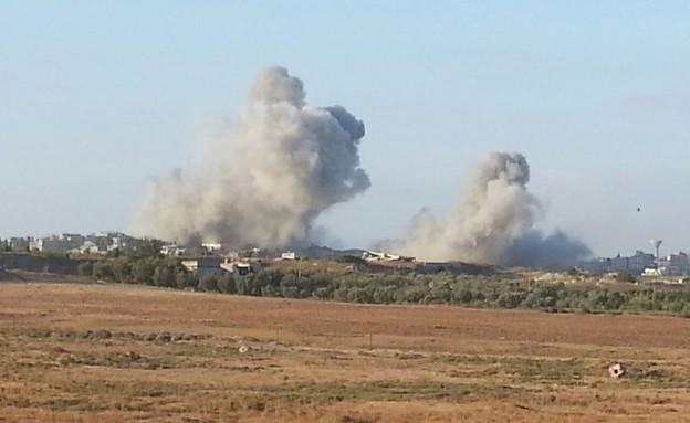 """הפצצות שריון ברצועת עזה (צילום: שי לוי, פז""""ם)"""