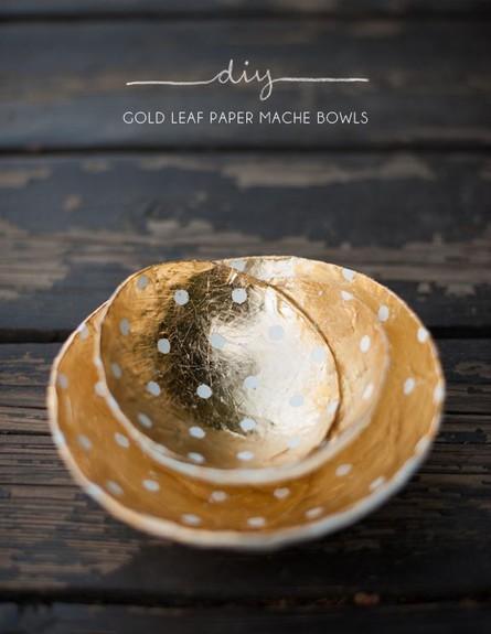 הכל זהב, הדרכה להכנת קערת זהב מעיסת נייר, בלוגרית  (צילום: KELLI MORRAY)
