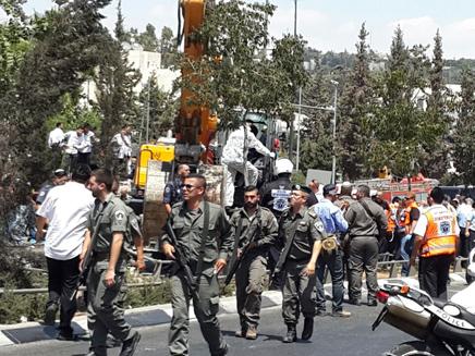 פיגוע הדריסה אתמול בירושלים (צילום: יוסף ששון)