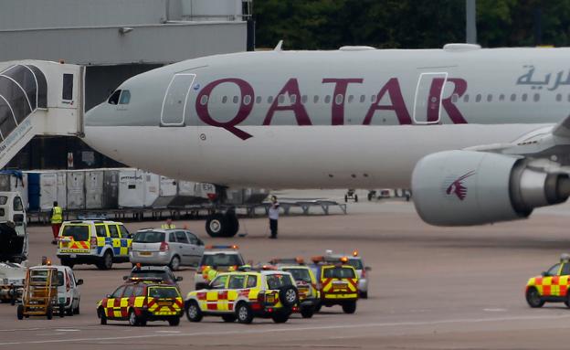 חשוד נעצר. המטוס על הקרקע (צילום: רויטרס)