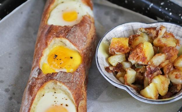 """ביצה בקן בבאגט (צילום: עידית נרקיס כ""""ץ, אוכל טוב)"""