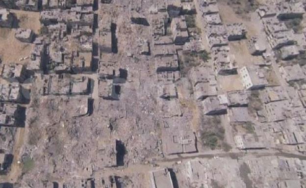 כך נראה ההרס בשכונת סג'עייה מהאוויר (צילום: media town ps, צילום מסך)