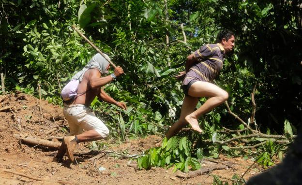 בן שבט הקא'פור רודף אחרי כורת עצים לא חוקי