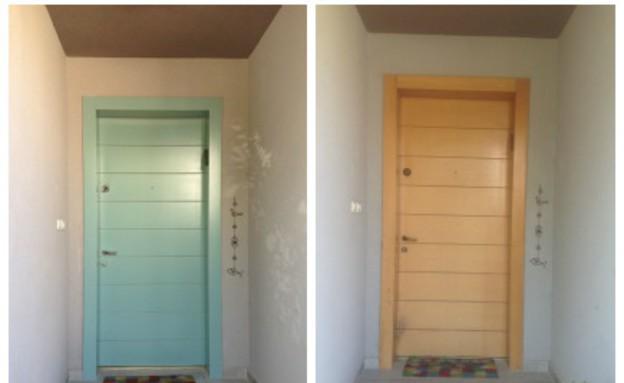 דלת עץ לפני ואחרי (צילום: מיכל יניב)