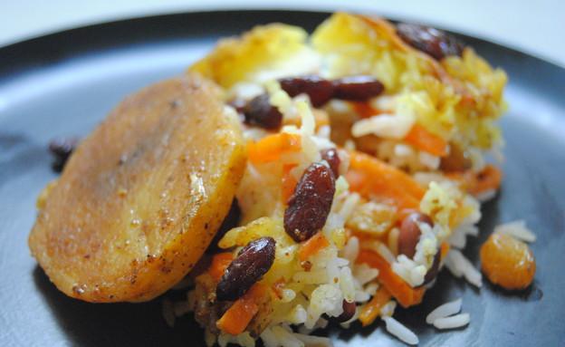 אורז עם שעועית אדומה וגזר (צילום: פסקל פרץ-רובין)