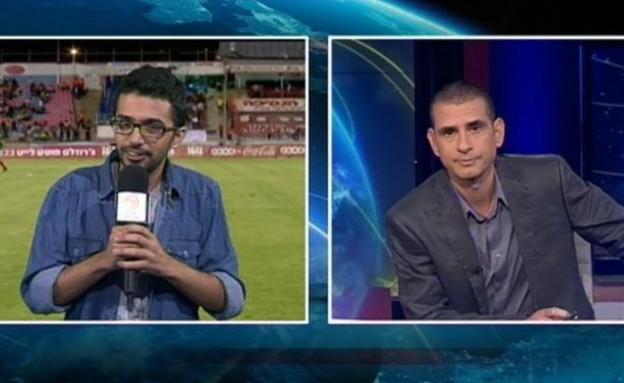 תם אהרון בדיווח על פתיחת עונת הכדורגל  (תמונת AVI: מתוך תכנית קיציס)