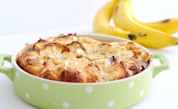 פודינג לחם בננות ושקדים (צילום: שרית נובק - מיס פטל, אוכל טוב)